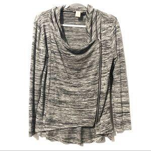 Loft Asymmetrical Zipper Sweater Gray Space Dye